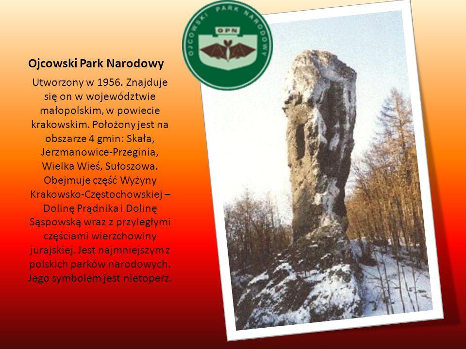 Ojcowski Park Narodowy Utworzony w 1956. Znajduje się on w województwie małopolskim, w powiecie krakowskim. Położony jest na obszarze 4 gmin: Skała, J