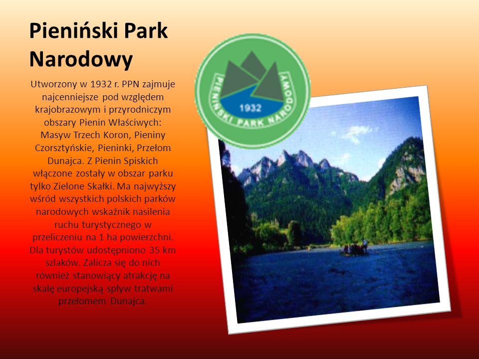 Pieniński Park Narodowy Utworzony w 1932 r. PPN zajmuje najcenniejsze pod względem krajobrazowym i przyrodniczym obszary Pienin Właściwych: Masyw Trze