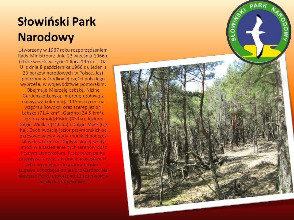 Słowiński Park Narodowy Utworzony w 1967 roku rozporządzeniem Rady Ministrów z dnia 23 września 1966 r. (które weszło w życie 1 lipca 1967 r. – Dz. U.