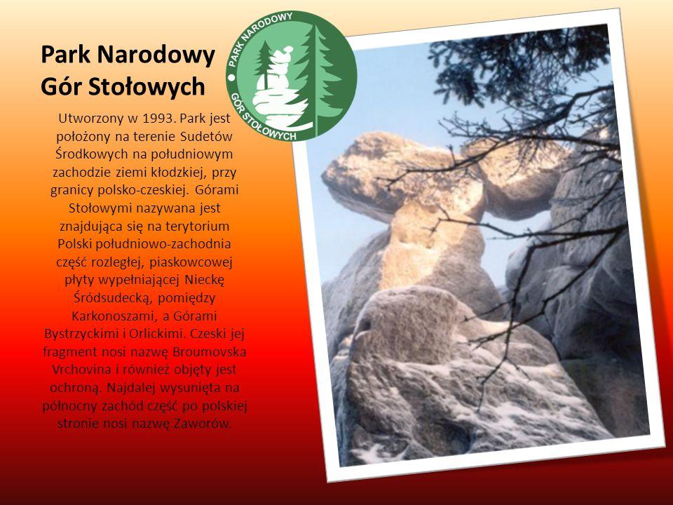 Park Narodowy Gór Stołowych Utworzony w 1993. Park jest położony na terenie Sudetów Środkowych na południowym zachodzie ziemi kłodzkiej, przy granicy