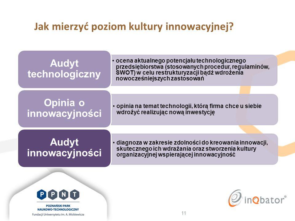 11 Jak mierzyć poziom kultury innowacyjnej? diagnoza w zakresie zdolności do kreowania innowacji, skutecznego ich wdrażania oraz stworzenia kultury or