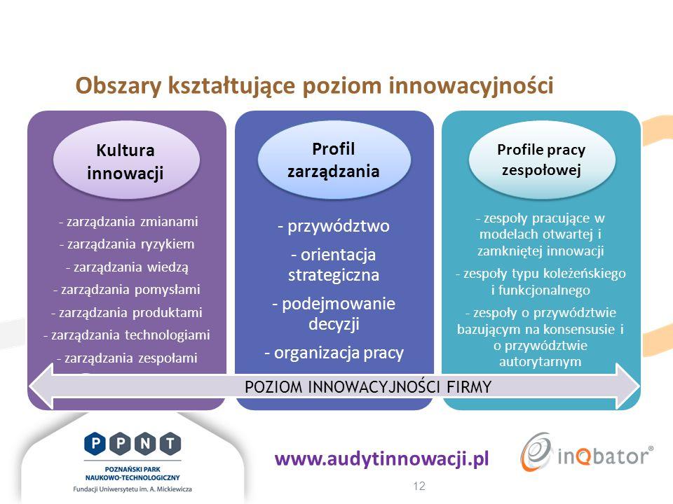 12 Obszary kształtujące poziom innowacyjności - zarządzania zmianami - zarządzania ryzykiem - zarządzania wiedzą - zarządzania pomysłami - zarządzania