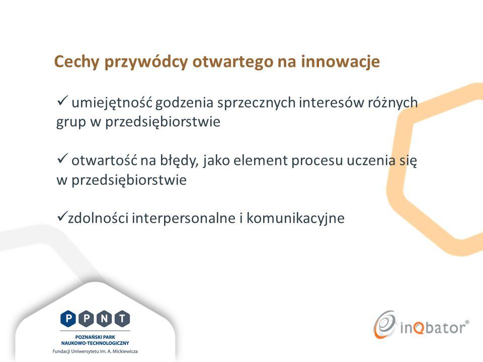 Cechy przywódcy otwartego na innowacje otwartość wobec inicjatyw własnych pracowników zdolność do refleksji i obiektywnej oceny pomysłów zgłaszanych przez pracowników umiejętność wspierania innych w poszukiwaniu rozwiązań