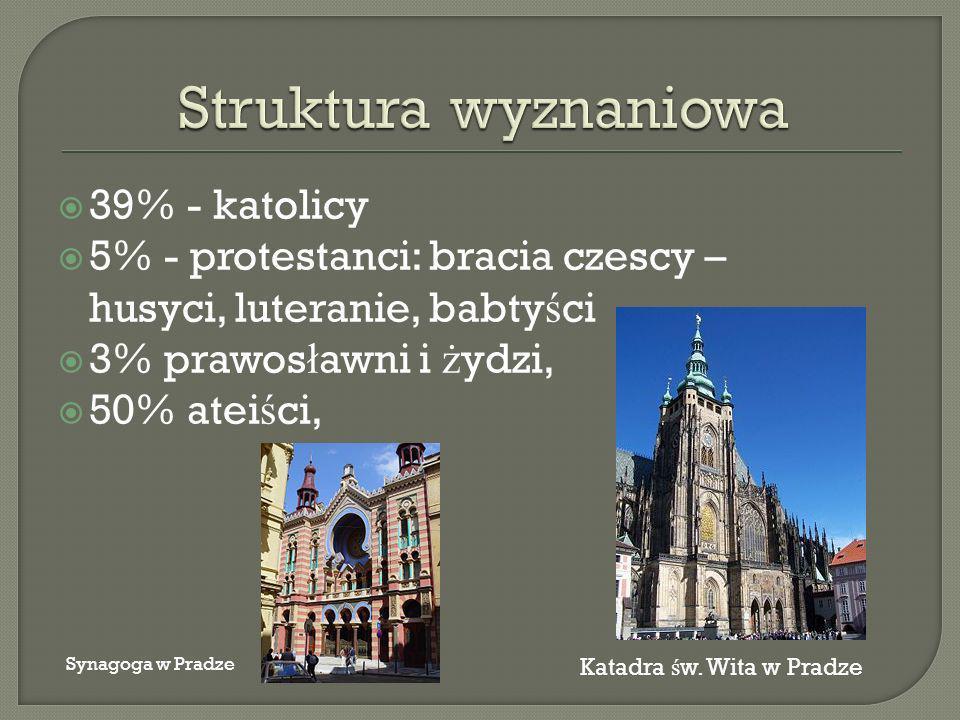 39% - katolicy 5% - protestanci: bracia czescy – husyci, luteranie, babty ś ci 3% prawos ł awni i ż ydzi, 50% atei ś ci, Katadra ś w.
