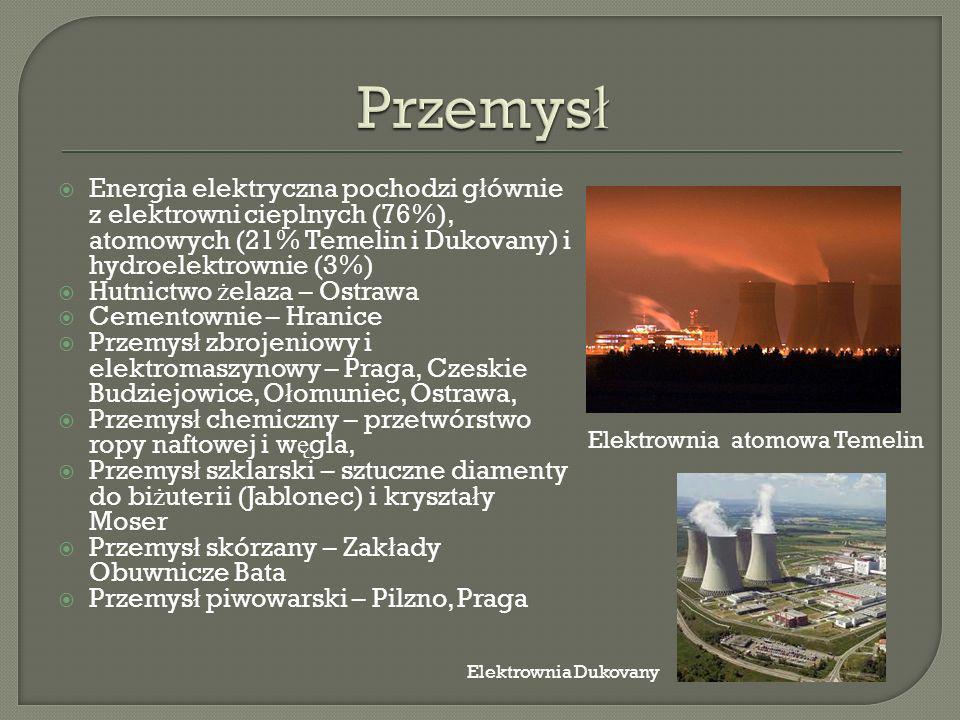 Energia elektryczna pochodzi g ł ównie z elektrowni cieplnych (76%), atomowych (21% Temelin i Dukovany) i hydroelektrownie (3%) Hutnictwo ż elaza – Ostrawa Cementownie – Hranice Przemys ł zbrojeniowy i elektromaszynowy – Praga, Czeskie Budziejowice, O ł omuniec, Ostrawa, Przemys ł chemiczny – przetwórstwo ropy naftowej i w ę gla, Przemys ł szklarski – sztuczne diamenty do bi ż uterii (Jablonec) i kryszta ł y Moser Przemys ł skórzany – Zak ł ady Obuwnicze Bata Przemys ł piwowarski – Pilzno, Praga Elektrownia atomowa Temelin Elektrownia Dukovany