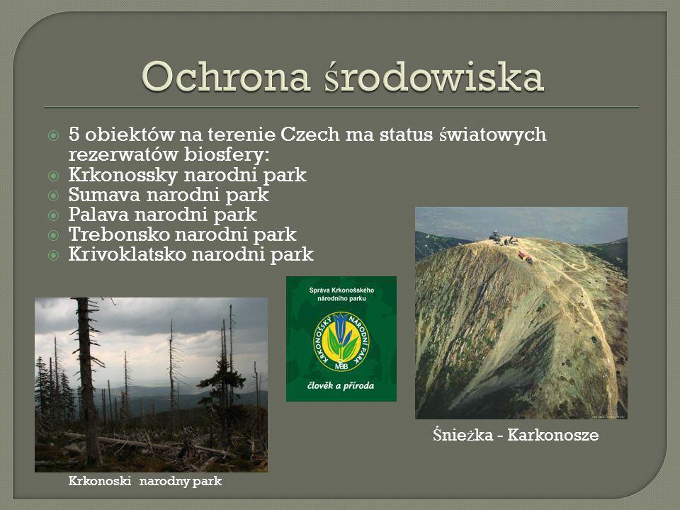 5 obiektów na terenie Czech ma status ś wiatowych rezerwatów biosfery: Krkonossky narodni park Sumava narodni park Palava narodni park Trebonsko narodni park Krivoklatsko narodni park Ś nie ż ka - Karkonosze Krkonoski narodny park