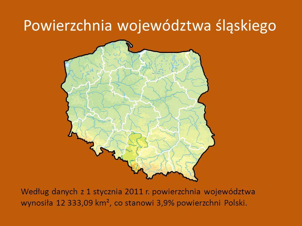 Według danych z 1 stycznia 2011 r. powierzchnia województwa wynosiła 12 333,09 km², co stanowi 3,9% powierzchni Polski. Powierzchnia województwa śląsk