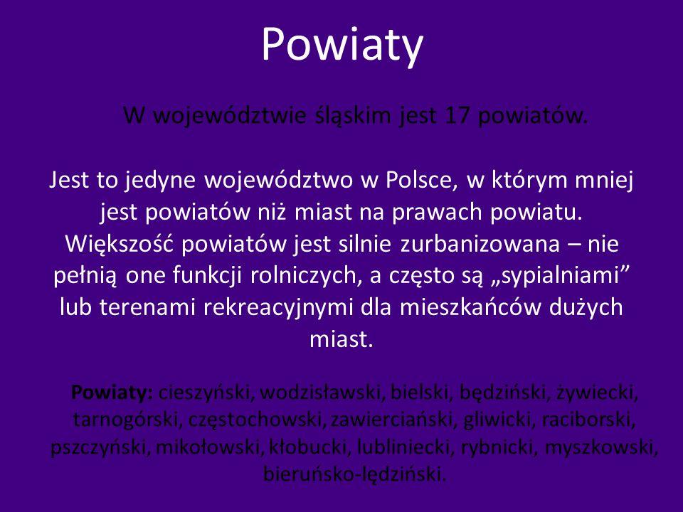 Powiaty Jest to jedyne województwo w Polsce, w którym mniej jest powiatów niż miast na prawach powiatu. Większość powiatów jest silnie zurbanizowana –
