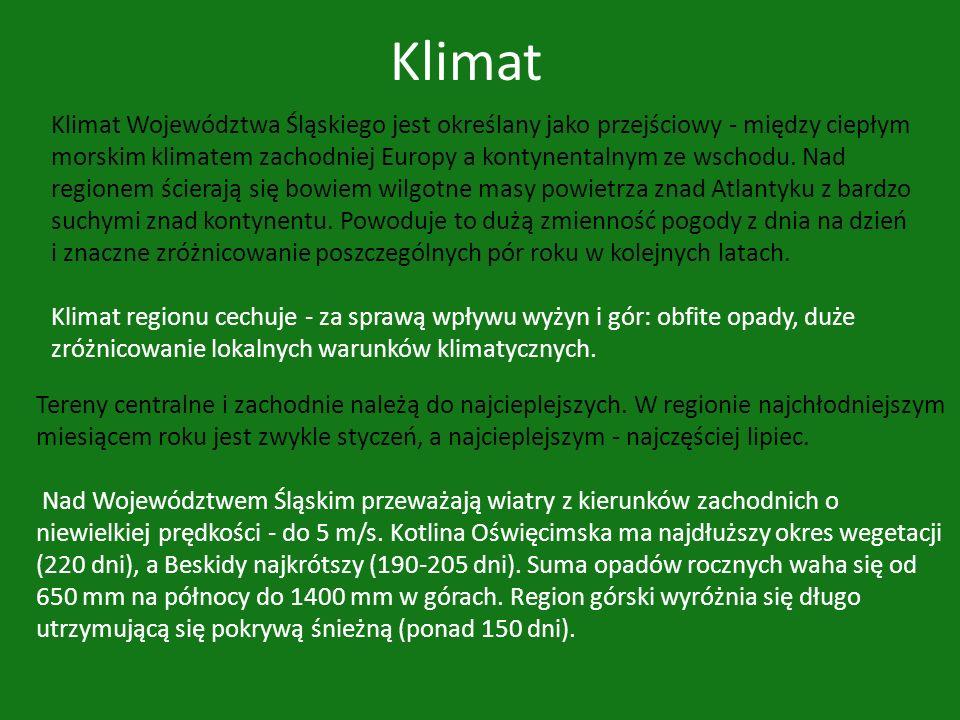 Klimat Klimat Województwa Śląskiego jest określany jako przejściowy - między ciepłym morskim klimatem zachodniej Europy a kontynentalnym ze wschodu. N