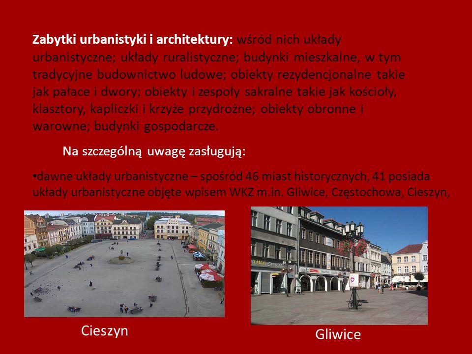 Zabytki urbanistyki i architektury: wśród nich układy urbanistyczne; układy ruralistyczne; budynki mieszkalne, w tym tradycyjne budownictwo ludowe; ob