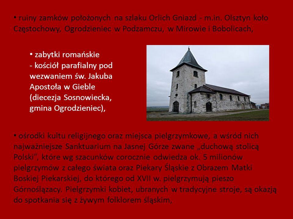 ruiny zamków położonych na szlaku Orlich Gniazd - m.in. Olsztyn koło Częstochowy, Ogrodzieniec w Podzamczu, w Mirowie i Bobolicach, ośrodki kultu reli