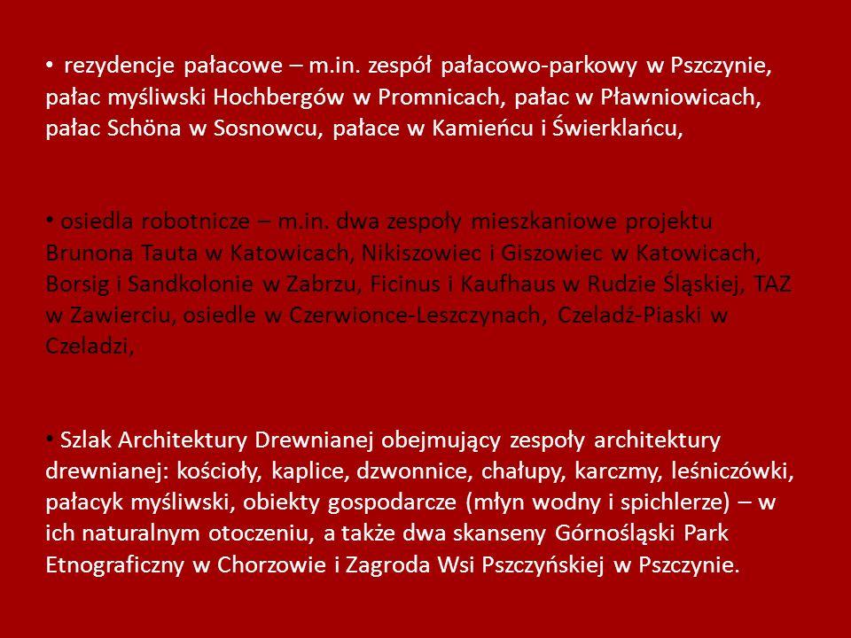 rezydencje pałacowe – m.in. zespół pałacowo-parkowy w Pszczynie, pałac myśliwski Hochbergów w Promnicach, pałac w Pławniowicach, pałac Schöna w Sosnow