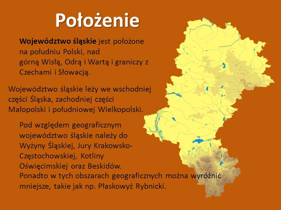 Położenie Województwo śląskie leży we wschodniej części Śląska, zachodniej części Małopolski i południowej Wielkopolski. Województwo śląskie jest poło