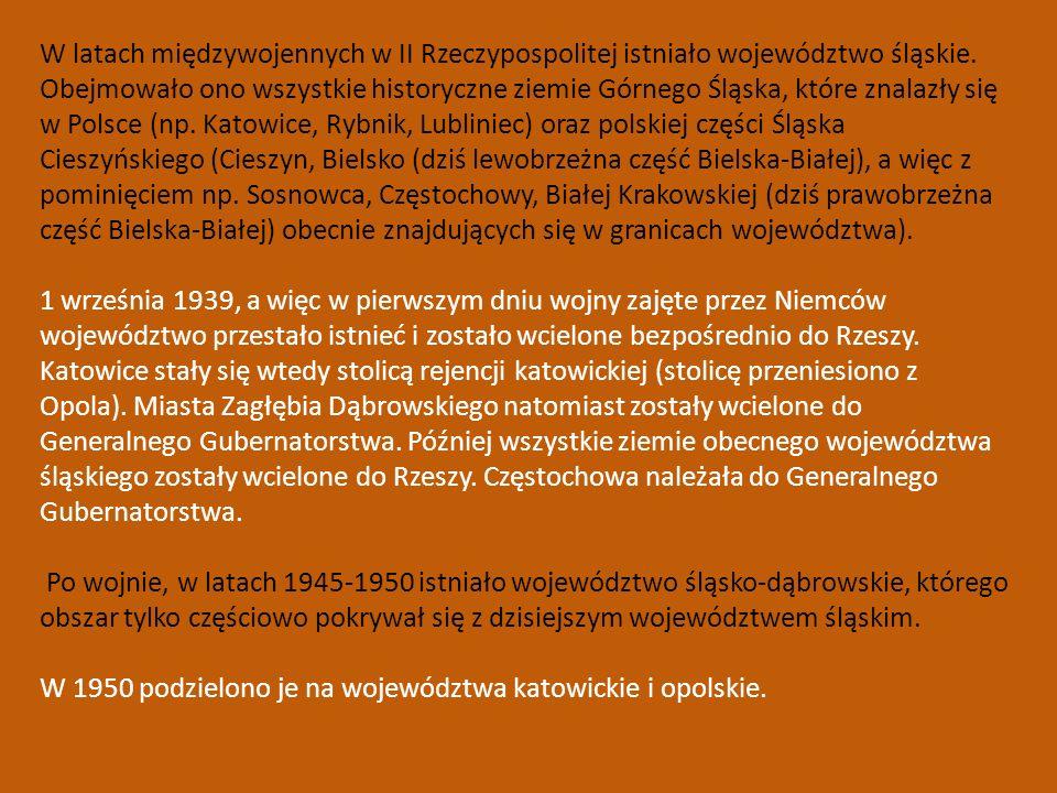 W latach międzywojennych w II Rzeczypospolitej istniało województwo śląskie. Obejmowało ono wszystkie historyczne ziemie Górnego Śląska, które znalazł