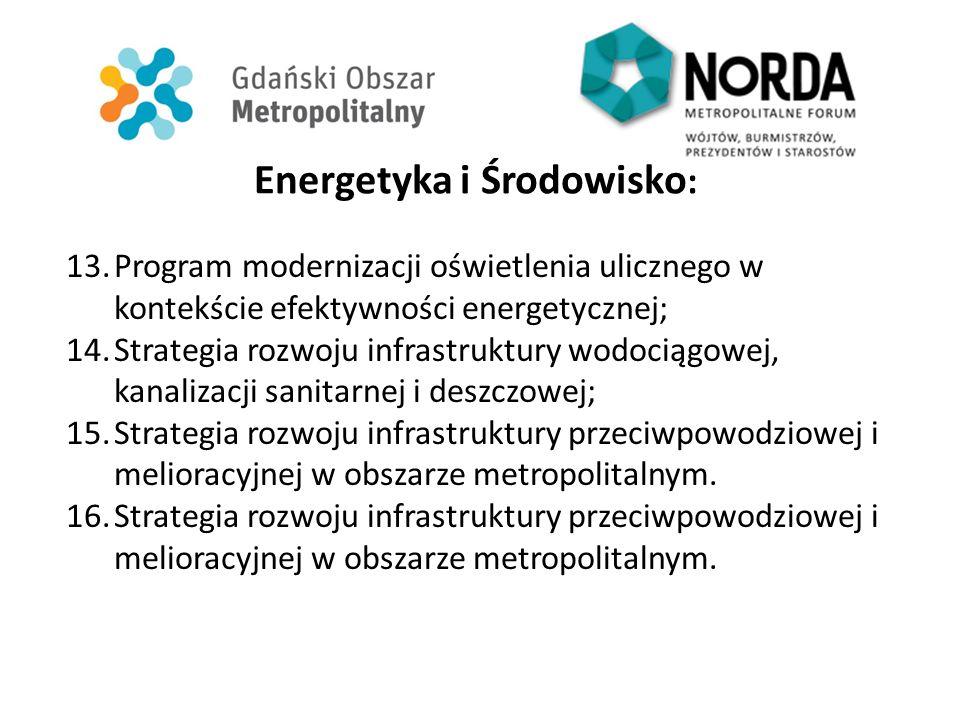 Energetyka i Środowisko : 13.Program modernizacji oświetlenia ulicznego w kontekście efektywności energetycznej; 14.Strategia rozwoju infrastruktury w