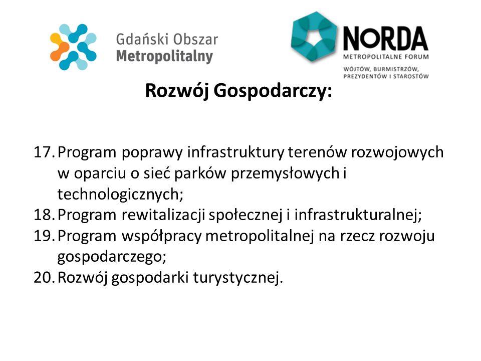 Rozwój Gospodarczy: 17.Program poprawy infrastruktury terenów rozwojowych w oparciu o sieć parków przemysłowych i technologicznych; 18.Program rewital