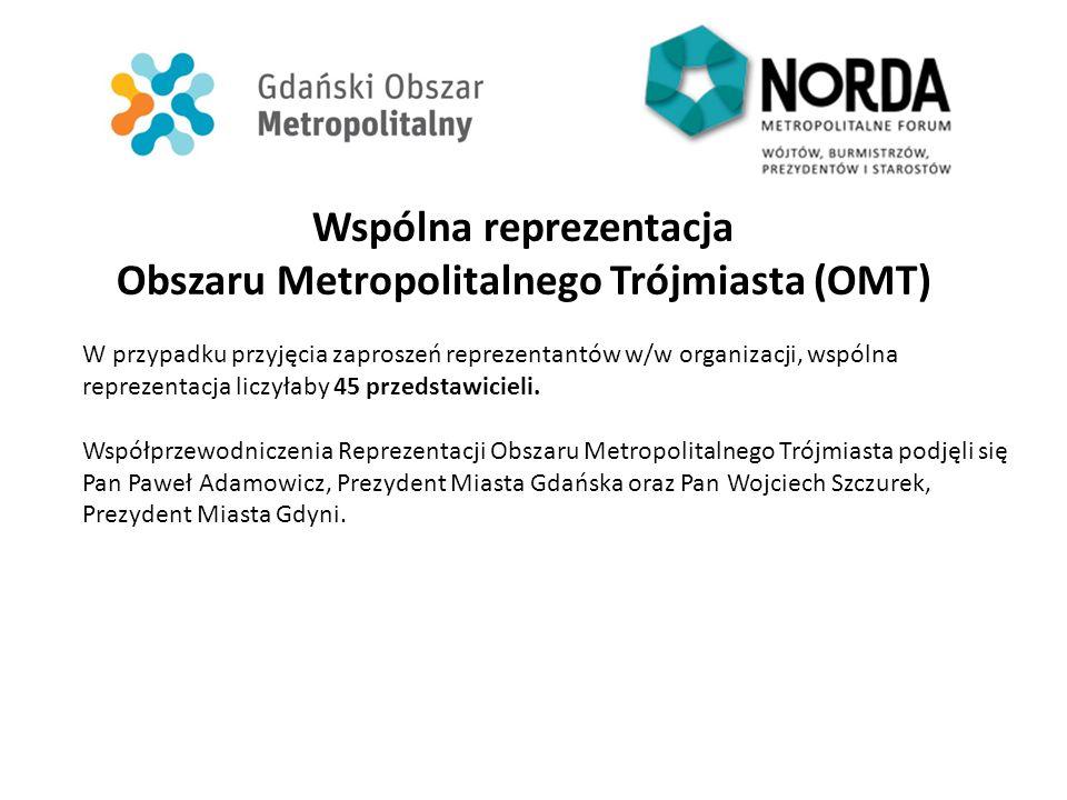 Wspólna reprezentacja Obszaru Metropolitalnego Trójmiasta (OMT) W przypadku przyjęcia zaproszeń reprezentantów w/w organizacji, wspólna reprezentacja liczyłaby 45 przedstawicieli.