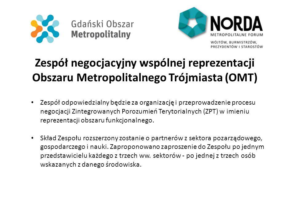Zespół negocjacyjny wspólnej reprezentacji Obszaru Metropolitalnego Trójmiasta (OMT) Zespół odpowiedzialny będzie za organizację i przeprowadzenie pro