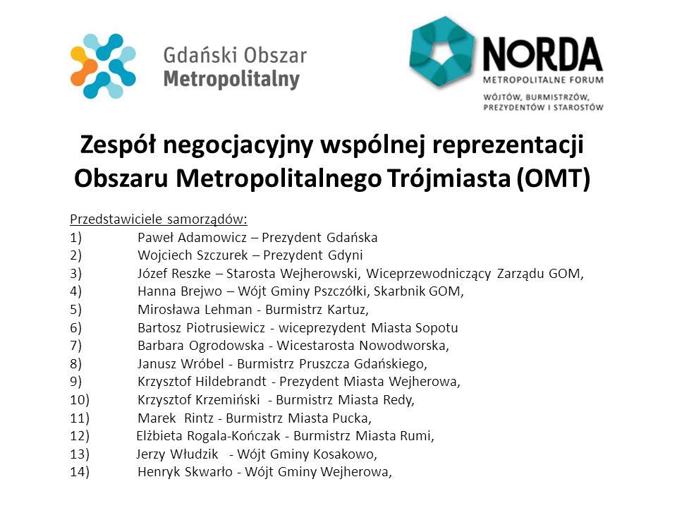 Zespół negocjacyjny wspólnej reprezentacji Obszaru Metropolitalnego Trójmiasta (OMT) Przedstawiciele samorządów: 1)Paweł Adamowicz – Prezydent Gdańska