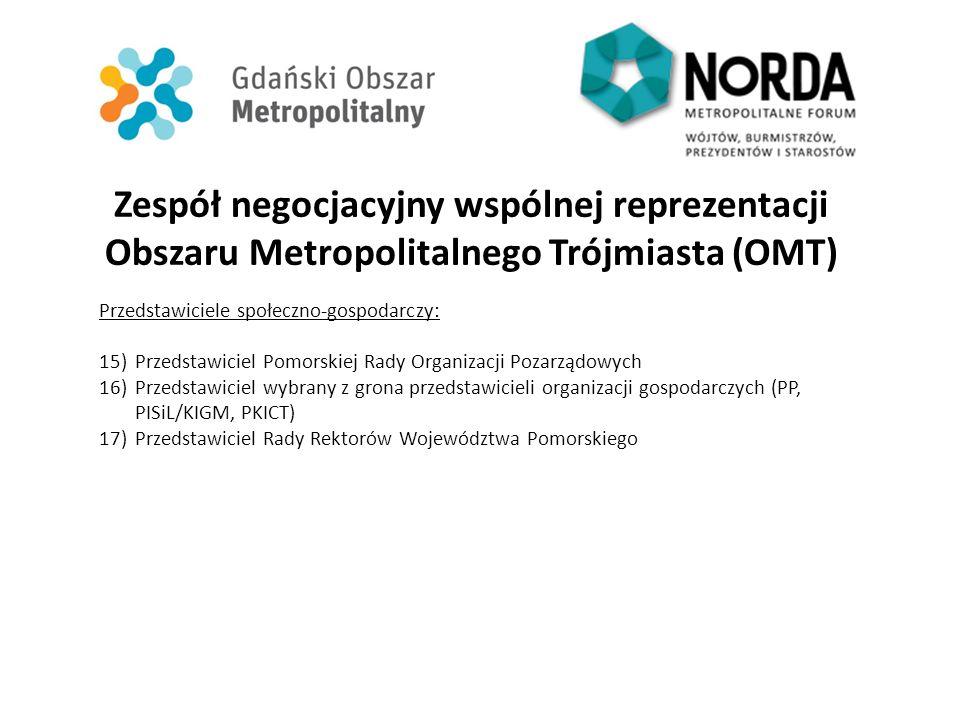 Zespół negocjacyjny wspólnej reprezentacji Obszaru Metropolitalnego Trójmiasta (OMT) Przedstawiciele społeczno-gospodarczy: 15)Przedstawiciel Pomorski