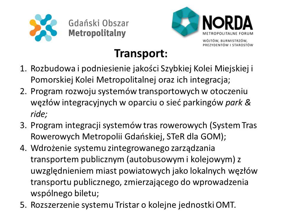 Transport : 1.Rozbudowa i podniesienie jakości Szybkiej Kolei Miejskiej i Pomorskiej Kolei Metropolitalnej oraz ich integracja; 2.Program rozwoju systemów transportowych w otoczeniu węzłów integracyjnych w oparciu o sieć parkingów park & ride; 3.Program integracji systemów tras rowerowych (System Tras Rowerowych Metropolii Gdańskiej, STeR dla GOM); 4.Wdrożenie systemu zintegrowanego zarządzania transportem publicznym (autobusowym i kolejowym) z uwzględnieniem miast powiatowych jako lokalnych węzłów transportu publicznego, zmierzającego do wprowadzenia wspólnego biletu; 5.Rozszerzenie systemu Tristar o kolejne jednostki OMT.