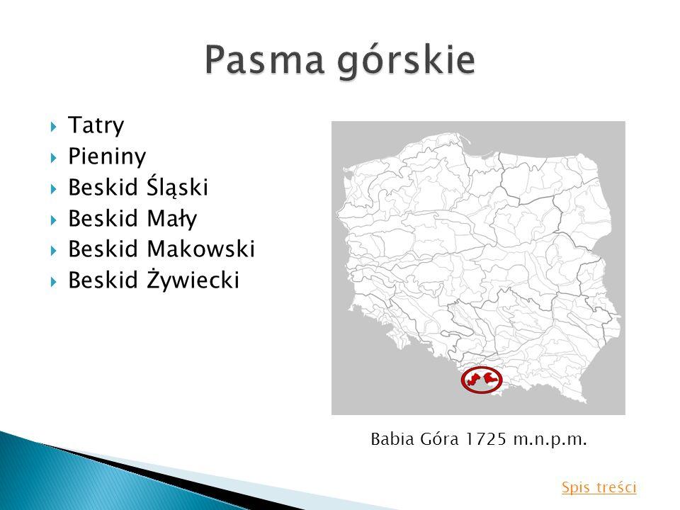 Tatry Pieniny Beskid Śląski Beskid Mały Beskid Makowski Beskid Żywiecki Babia Góra 1725 m.n.p.m. Spis treści