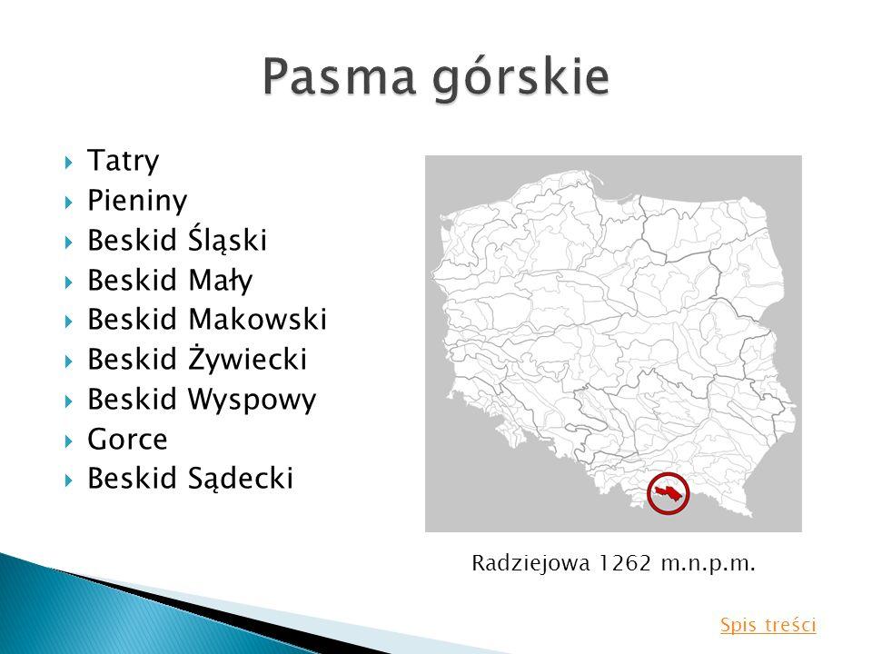 Tatry Pieniny Beskid Śląski Beskid Mały Beskid Makowski Beskid Żywiecki Beskid Wyspowy Gorce Beskid Sądecki Radziejowa 1262 m.n.p.m. Spis treści
