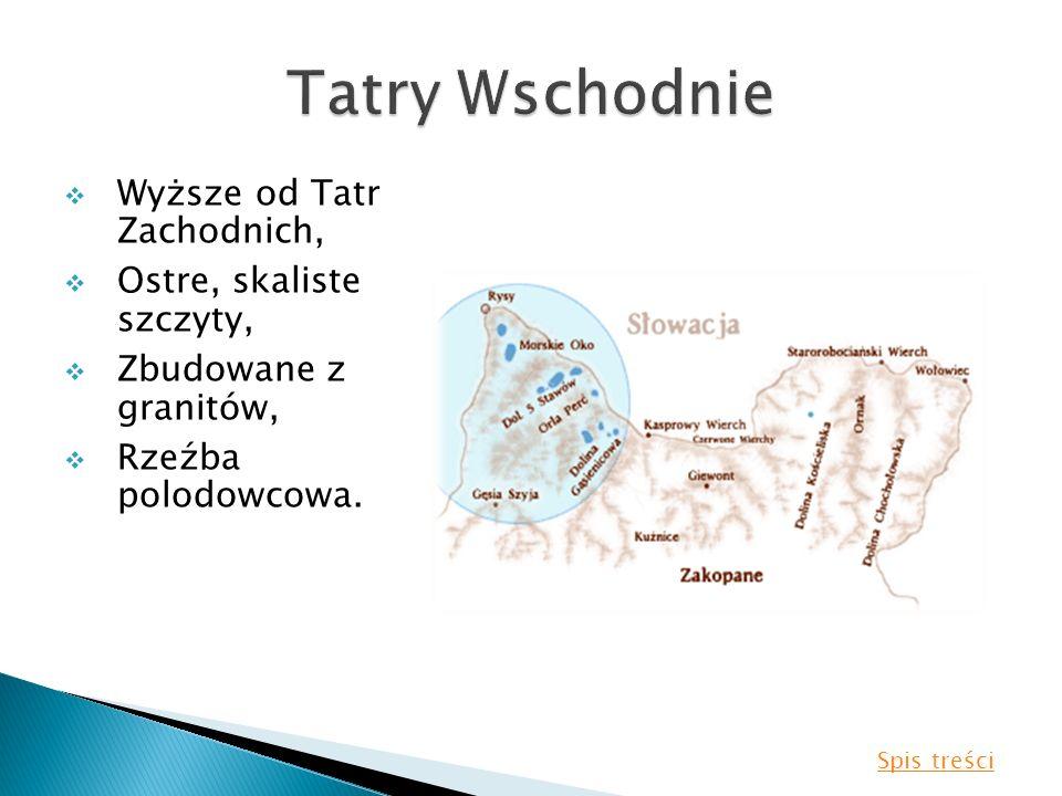 Wyższe od Tatr Zachodnich, Ostre, skaliste szczyty, Zbudowane z granitów, Rzeźba polodowcowa. Spis treści