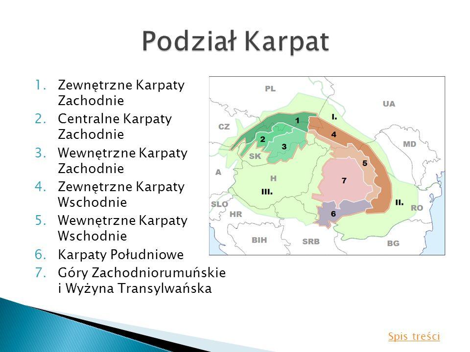 1.Zewnętrzne Karpaty Zachodnie 2.Centralne Karpaty Zachodnie 3.Wewnętrzne Karpaty Zachodnie 4.Zewnętrzne Karpaty Wschodnie 5.Wewnętrzne Karpaty Wschod