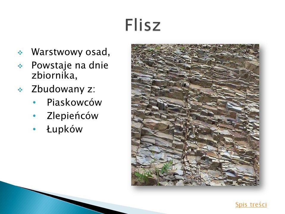 Warstwowy osad, Powstaje na dnie zbiornika, Zbudowany z: Piaskowców Zlepieńców Łupków Spis treści