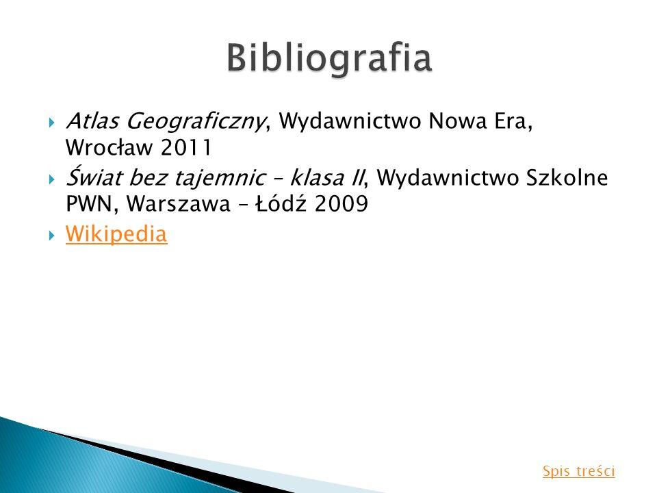 Atlas Geograficzny, Wydawnictwo Nowa Era, Wrocław 2011 Świat bez tajemnic – klasa II, Wydawnictwo Szkolne PWN, Warszawa – Łódź 2009 Wikipedia Spis tre