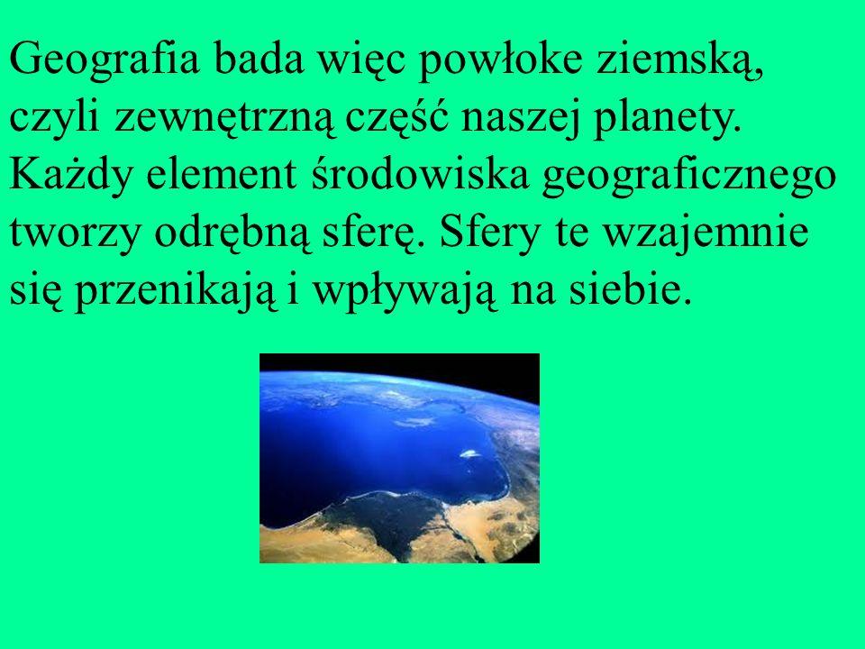 Są to: atmosfera - powłoka powietrzna hydrosfera - powłoka wodna litosfera - powłoka skalna pedosfera - powłoka glebowa biosfera - powłoka organizmów żywych