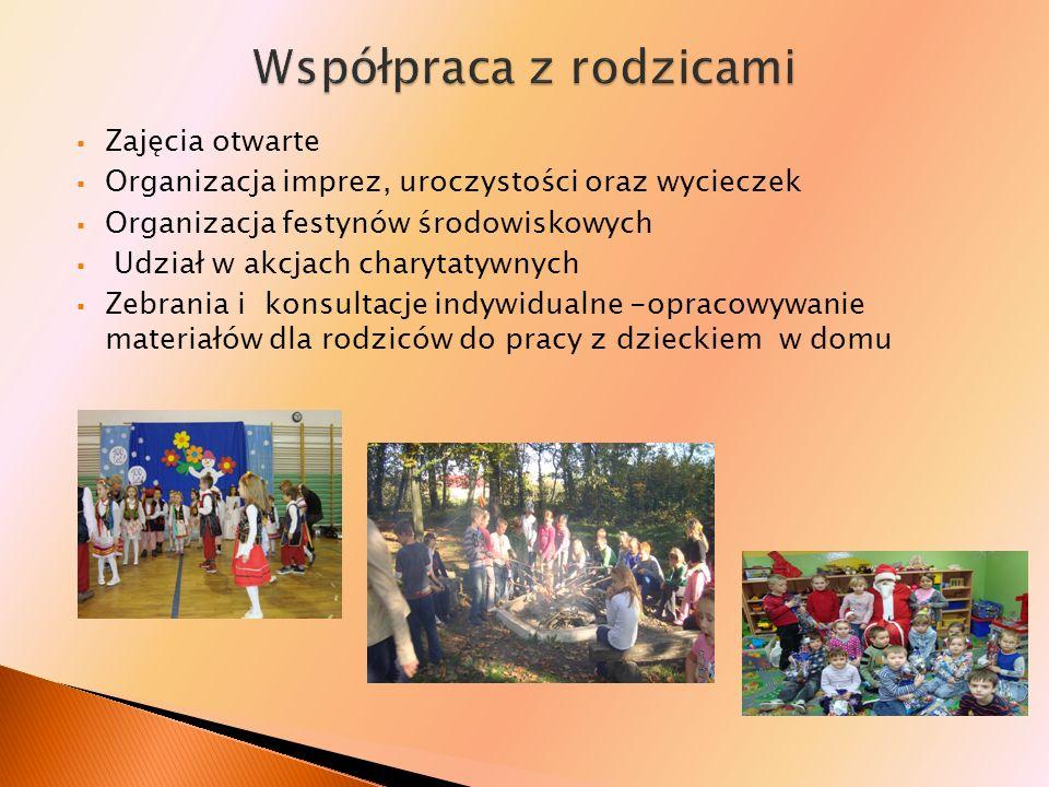 Zajęcia otwarte Organizacja imprez, uroczystości oraz wycieczek Organizacja festynów środowiskowych Udział w akcjach charytatywnych Zebrania i konsult