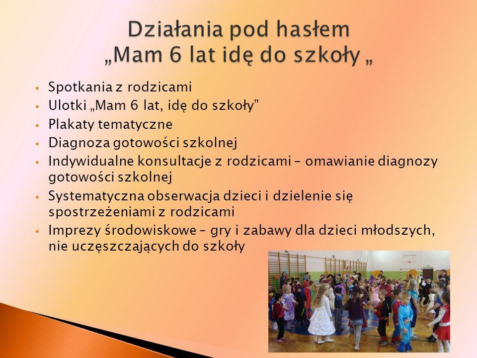 Spotkania z rodzicami Ulotki Mam 6 lat, idę do szkoły Plakaty tematyczne Diagnoza gotowości szkolnej Indywidualne konsultacje z rodzicami – omawianie