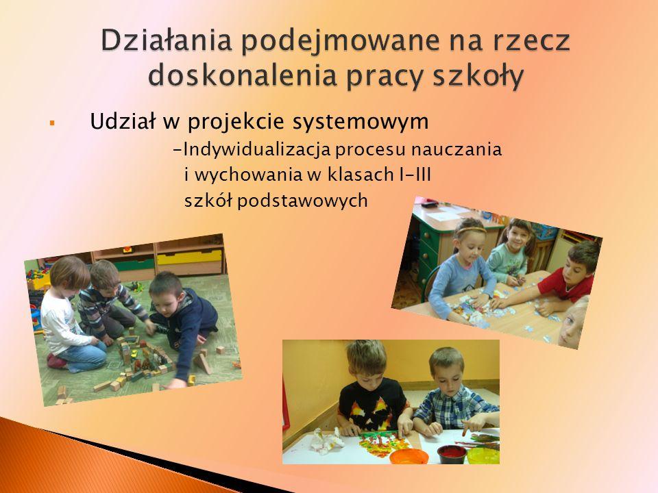 Udział w projekcie systemowym -Indywidualizacja procesu nauczania i wychowania w klasach I-III szkół podstawowych