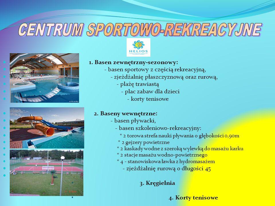 1. Basen zewnętrzny-sezonowy: - basen sportowy z częścią rekreacyjną, - zjeżdżalnię płaszczyznową oraz rurową, - plażę trawiastą - plac zabaw dla dzie