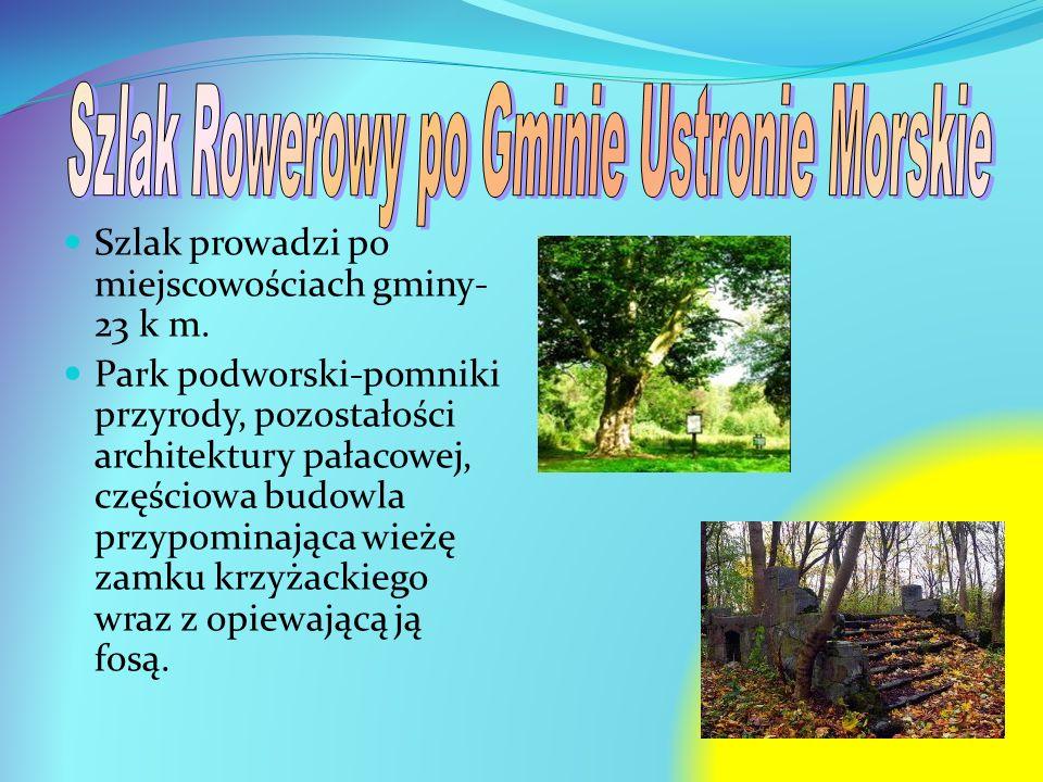 Szlak prowadzi po miejscowościach gminy- 23 k m. Park podworski-pomniki przyrody, pozostałości architektury pałacowej, częściowa budowla przypominając