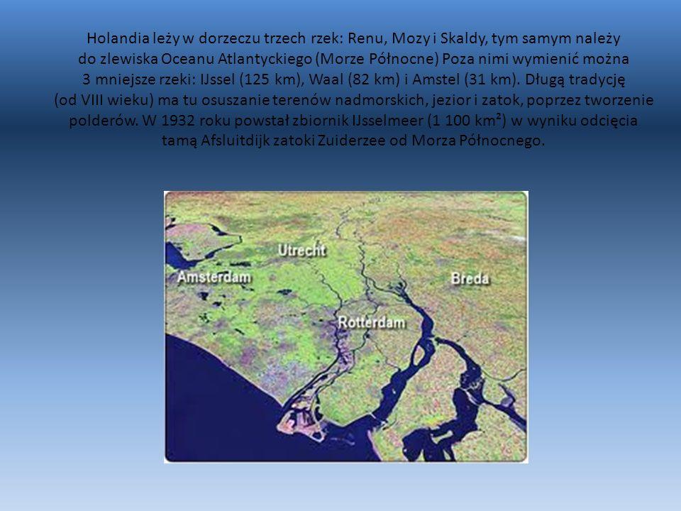 Holandia leży w dorzeczu trzech rzek: Renu, Mozy i Skaldy, tym samym należy do zlewiska Oceanu Atlantyckiego (Morze Północne) Poza nimi wymienić można