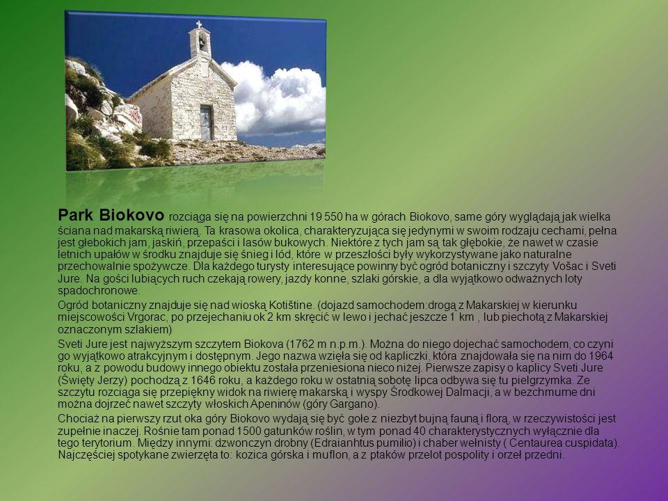 Park Biokovo rozciąga się na powierzchni 19 550 ha w górach Biokovo, same góry wyglądają jak wielka ściana nad makarską riwierą. Ta krasowa okolica, c