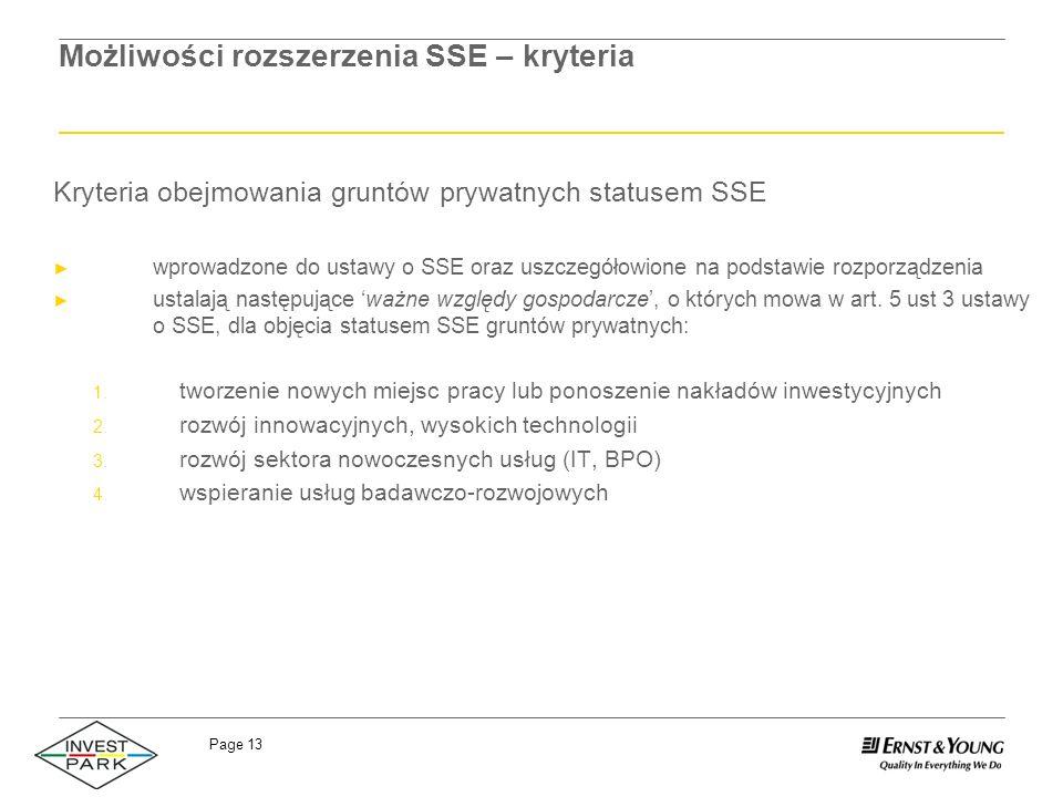 Page 13 Możliwości rozszerzenia SSE – kryteria Kryteria obejmowania gruntów prywatnych statusem SSE wprowadzone do ustawy o SSE oraz uszczegółowione n