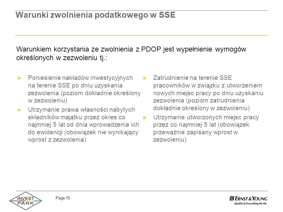 Page 15 Warunki zwolnienia podatkowego w SSE Zatrudnienie na terenie SSE pracowników w związku z utworzeniem nowych miejsc pracy po dniu uzyskaniu zez