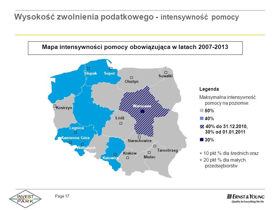 Page 17 Mapa intensywności pomocy obowiązująca w latach 2007-2013 Wysokość zwolnienia podatkowego - intensywność pomocy Legenda Maksymalna intensywnoś