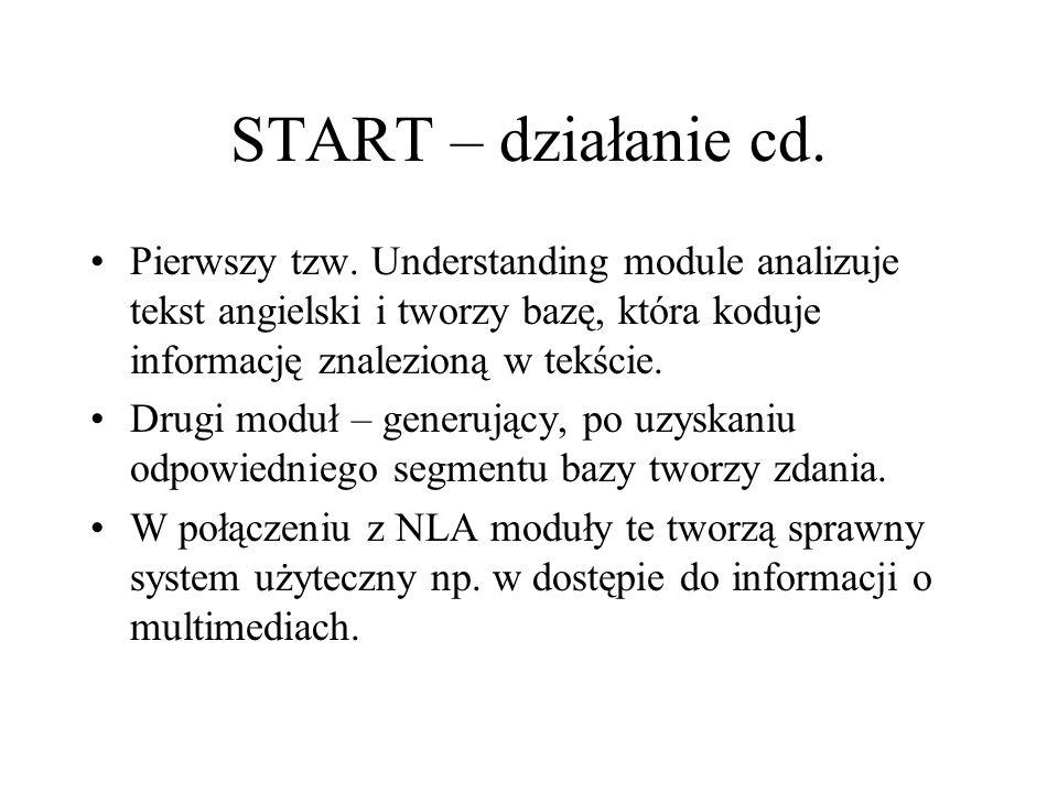 START – działanie cd. Pierwszy tzw. Understanding module analizuje tekst angielski i tworzy bazę, która koduje informację znalezioną w tekście. Drugi