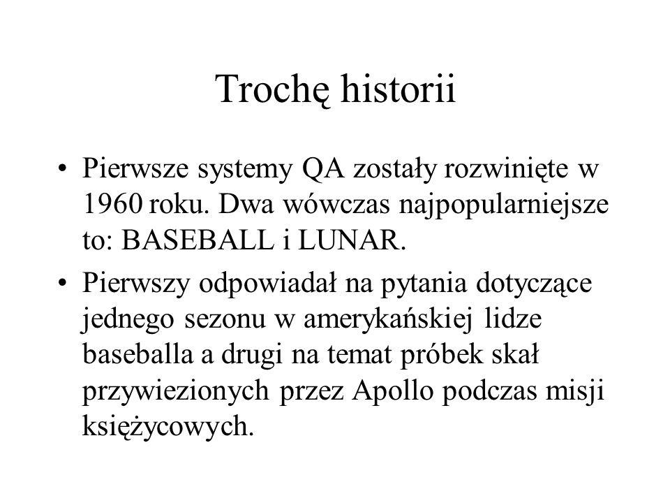 Trochę historii Pierwsze systemy QA zostały rozwinięte w 1960 roku. Dwa wówczas najpopularniejsze to: BASEBALL i LUNAR. Pierwszy odpowiadał na pytania