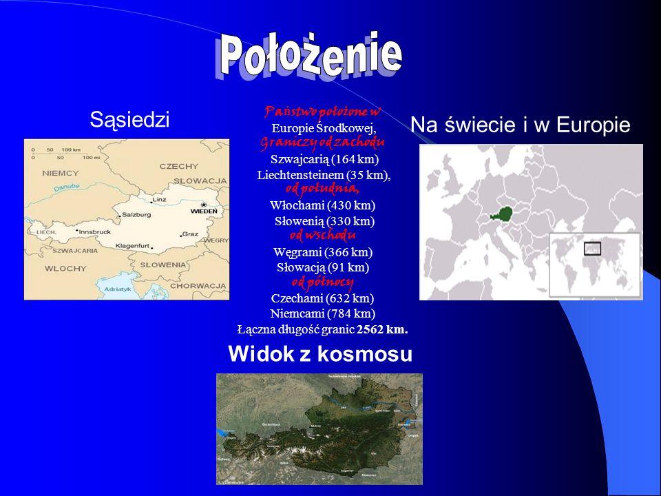 Widok z kosmosu Pa ń stwo poło ż one w Europie Środkowej, Graniczy od zachodu Szwajcarią (164 km) Liechtensteinem (35 km), od południa, Włochami (430