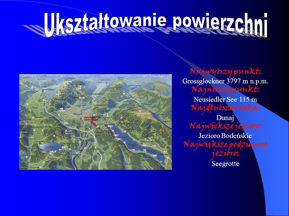 Najwy ż szy punkt: Grossglockner 3797 m n.p.m. Najni ż szy punkt: Neusiedler See 115 m Najdłu ż sza rzeka: Dunaj Najwi ę ksze jezioro: Jezioro Bodeńsk