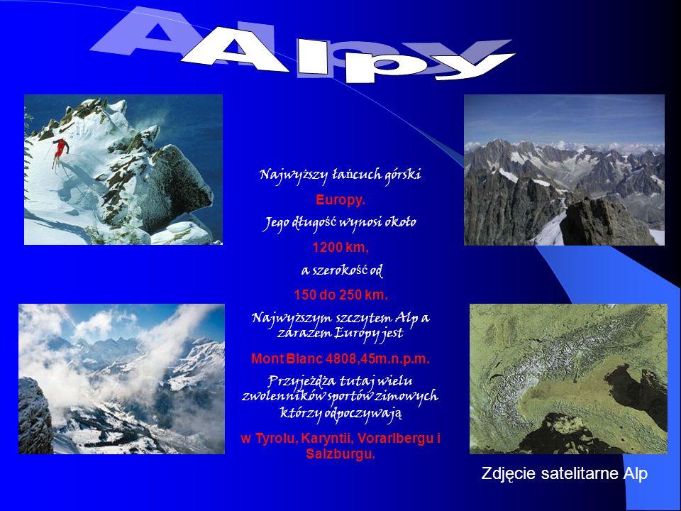 Najwy ż szy ła ń cuch górski Europy. Jego długo ść wynosi około 1200 km, a szeroko ść od 150 do 250 km. Najwy ż szym szczytem Alp a zarazem Europy jes
