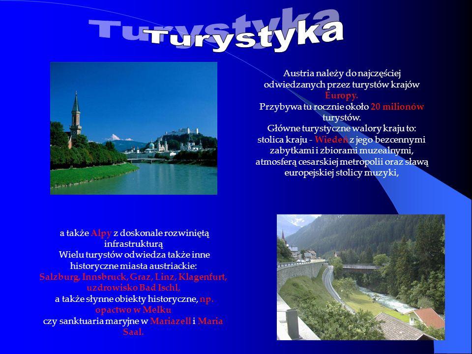 a także Alpy z doskonale rozwiniętą infrastrukturą Wielu turystów odwiedza także inne historyczne miasta austriackie: Salzburg, Innsbruck, Graz, Linz,