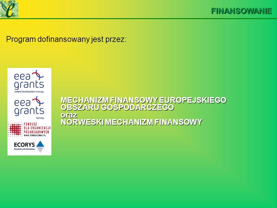 FINANSOWANIE Program dofinansowany jest przez: MECHANIZM FINANSOWY EUROPEJSKIEGO OBSZARU GOSPODARCZEGO oraz NORWESKI MECHANIZM FINANSOWY