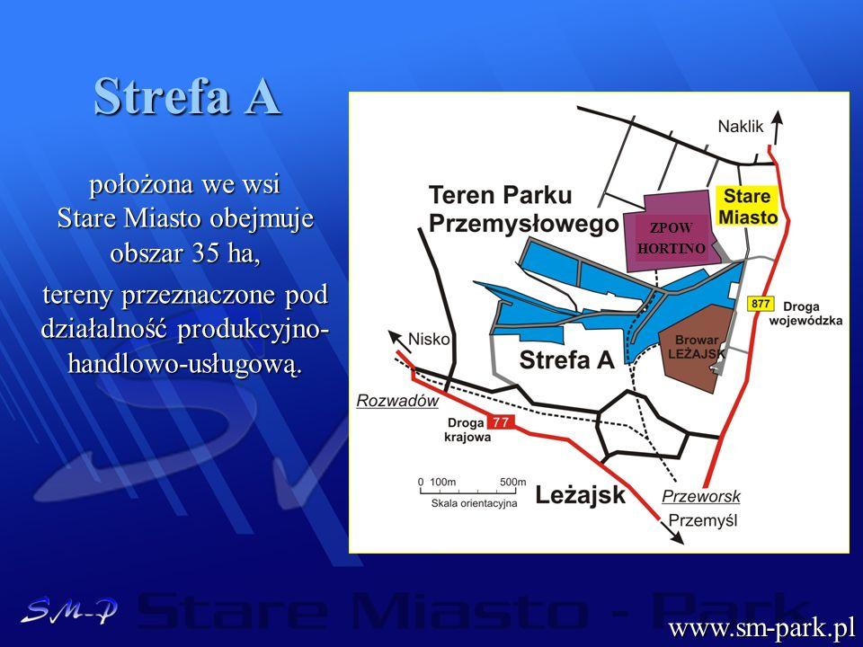 Strefa A położona we wsi Stare Miasto obejmuje obszar 35 ha, tereny przeznaczone pod działalność produkcyjno- handlowo-usługową. www.sm-park.pl ZPOW H